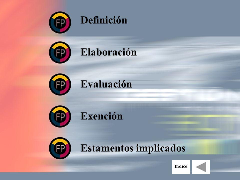 Definición Elaboración Estamentos implicados Evaluación Exención Indice