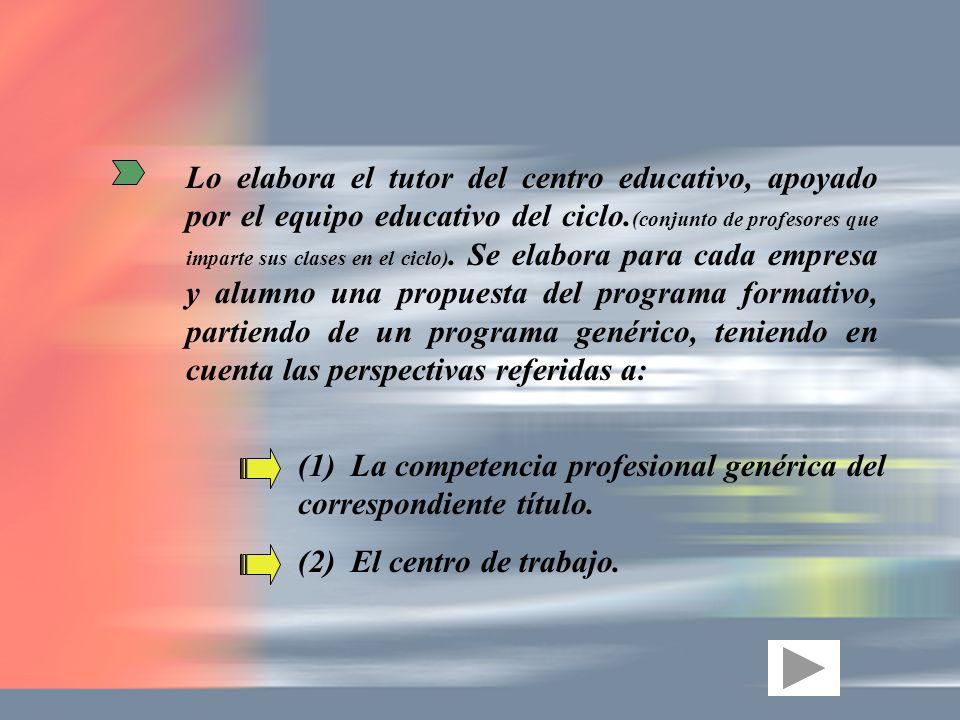 Lo elabora el tutor del centro educativo, apoyado por el equipo educativo del ciclo. (conjunto de profesores que imparte sus clases en el ciclo). Se e