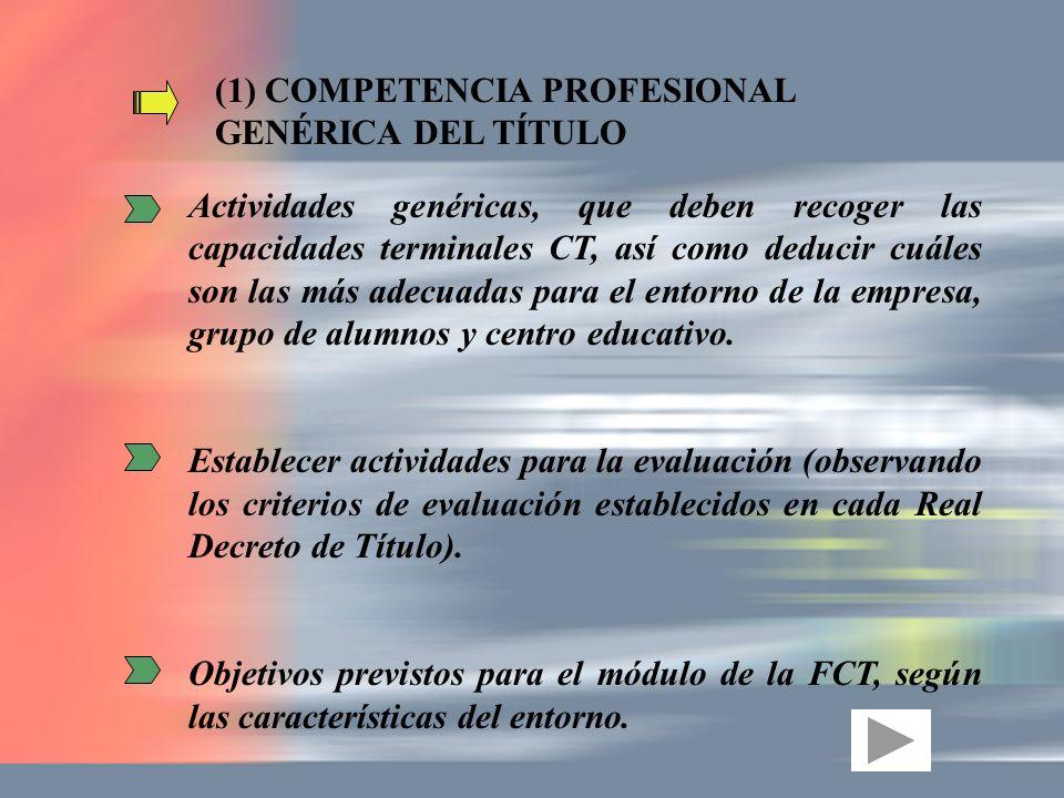 (1) COMPETENCIA PROFESIONAL GENÉRICA DEL TÍTULO Actividades genéricas, que deben recoger las capacidades terminales CT, así como deducir cuáles son la