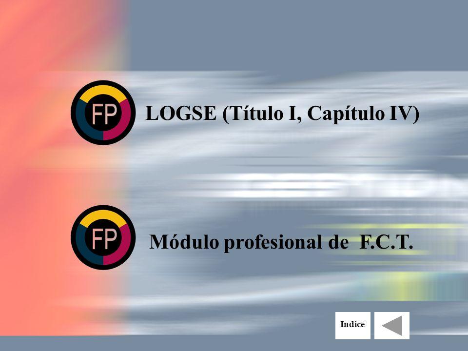 LOGSE (Título I, Capítulo IV) Módulo profesional de F.C.T. Indice