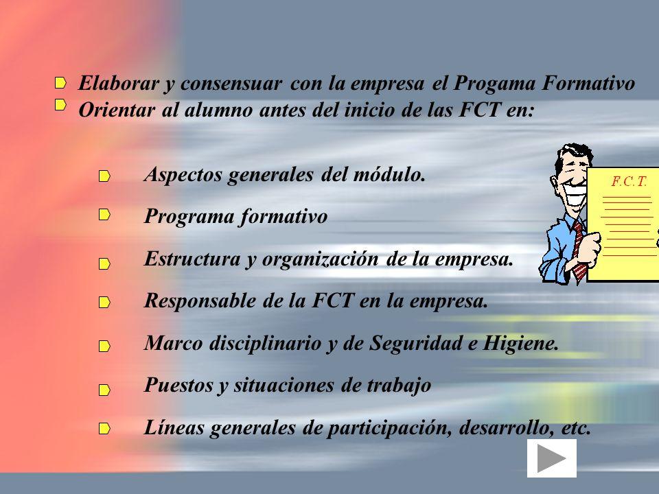 Elaborar y consensuar con la empresa el Progama Formativo Orientar al alumno antes del inicio de las FCT en: Aspectos generales del módulo. Programa f