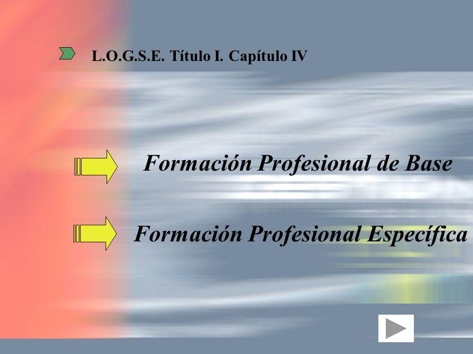 Formación Profesional Específica Formación Profesional de Base L.O.G.S.E. Título I. Capítulo IV
