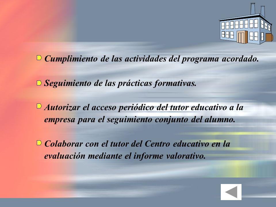Cumplimiento de las actividades del programa acordado. Seguimiento de las prácticas formativas. Autorizar el acceso periódico del tutor educativo a la