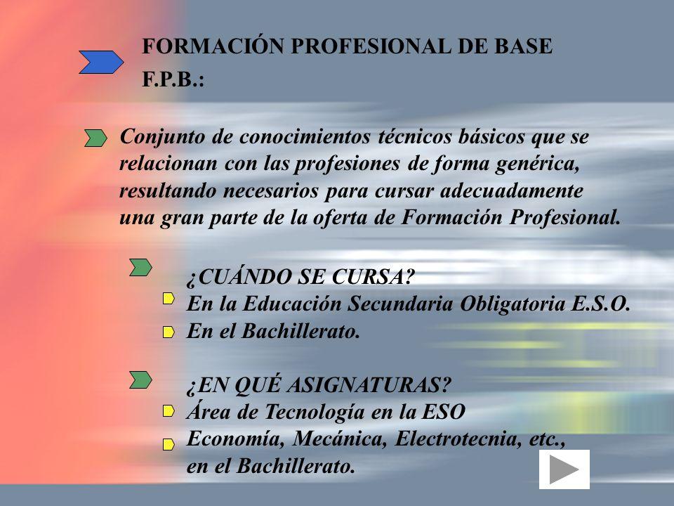 Conjunto de conocimientos técnicos básicos que se relacionan con las profesiones de forma genérica, resultando necesarios para cursar adecuadamente un