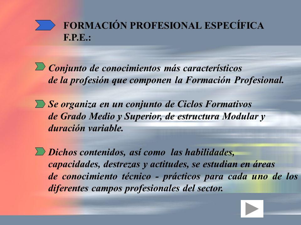 Conjunto de conocimientos más característicos de la profesión que componen la Formación Profesional. Se organiza en un conjunto de Ciclos Formativos d