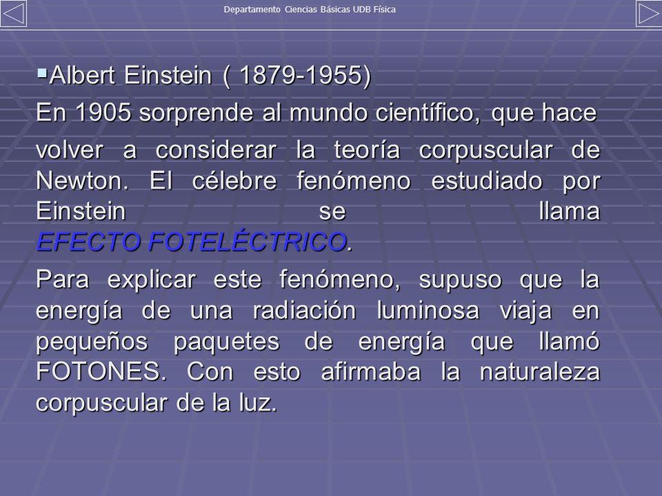 Albert Einstein ( 1879-1955) Albert Einstein ( 1879-1955) En 1905 sorprende al mundo científico, que hace volver a considerar la teoría corpuscular de
