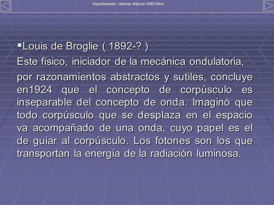 Louis de Broglie ( 1892-? ) Louis de Broglie ( 1892-? ) Este físico, iniciador de la mecánica ondulatoria, por razonamientos abstractos y sutiles, con