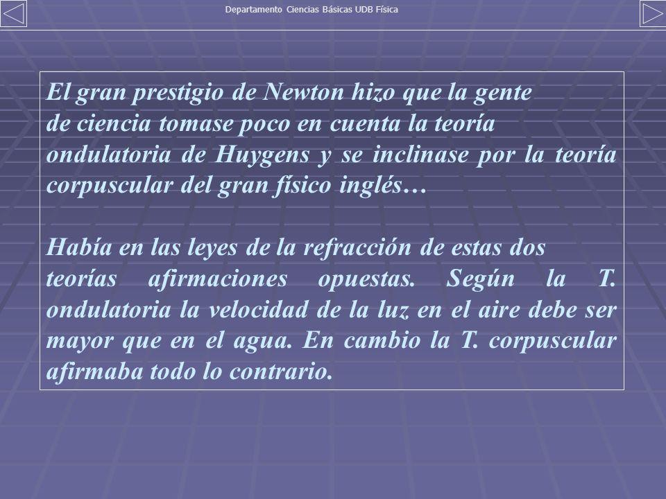 El gran prestigio de Newton hizo que la gente de ciencia tomase poco en cuenta la teoría ondulatoria de Huygens y se inclinase por la teoría corpuscul