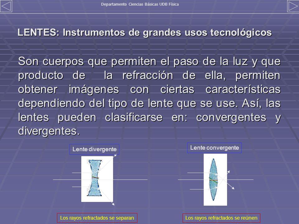 LENTES: Instrumentos de grandes usos tecnológicos Son cuerpos que permiten el paso de la luz y que producto de la refracción de ella, permiten obtener