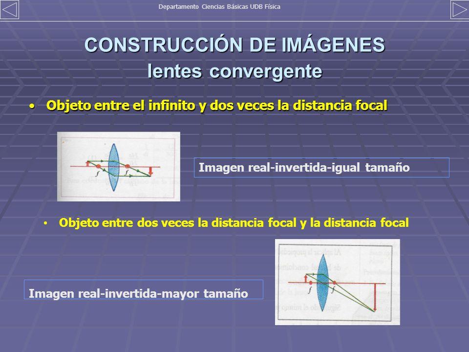 CONSTRUCCIÓN DE IMÁGENES lentes convergente Objeto entre el infinito y dos veces la distancia focalObjeto entre el infinito y dos veces la distancia f