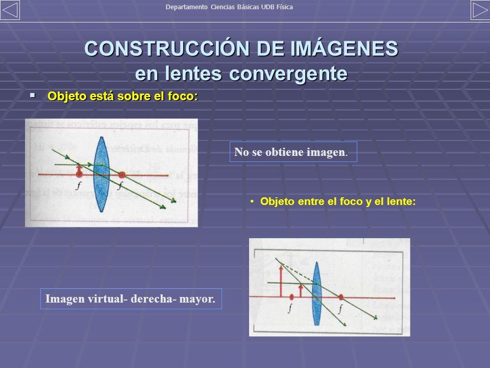 CONSTRUCCIÓN DE IMÁGENES en lentes convergente Objeto está sobre el foco: Objeto está sobre el foco: No se obtiene imagen. Objeto entre el foco y el l