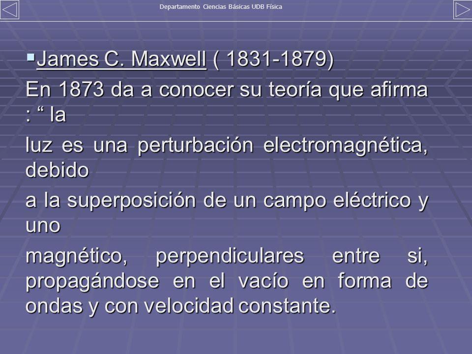 James C. Maxwell ( 1831-1879) James C. Maxwell ( 1831-1879) En 1873 da a conocer su teoría que afirma : la luz es una perturbación electromagnética, d