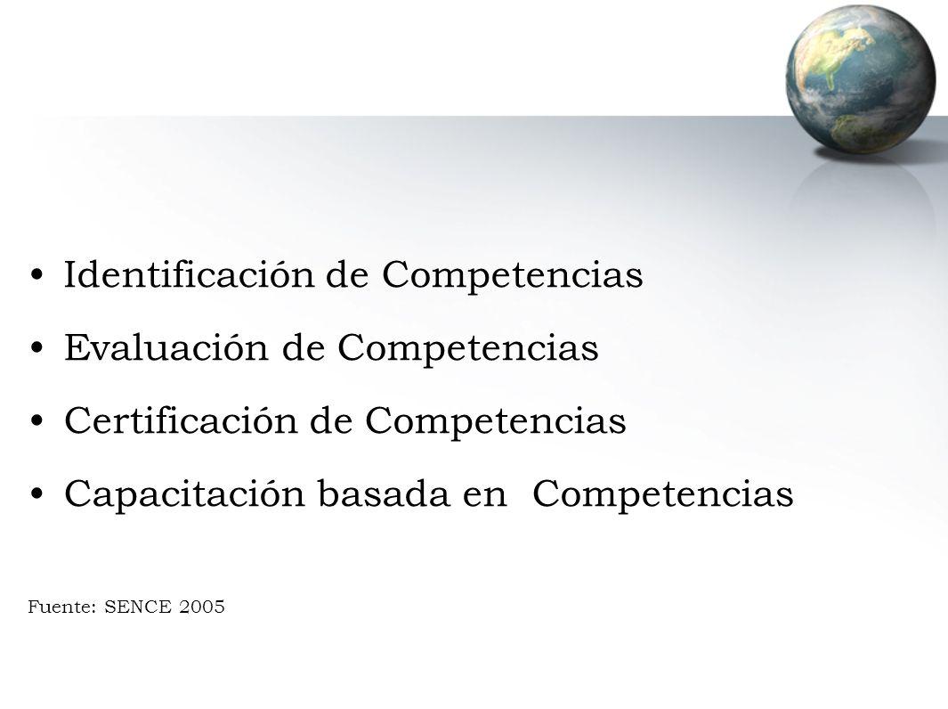 Identificación de Competencias Evaluación de Competencias Certificación de Competencias Capacitación basada en Competencias Fuente: SENCE 2005