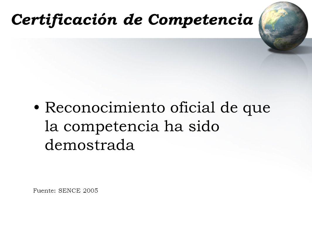 Certificación de Competencia Reconocimiento oficial de que la competencia ha sido demostrada Fuente: SENCE 2005