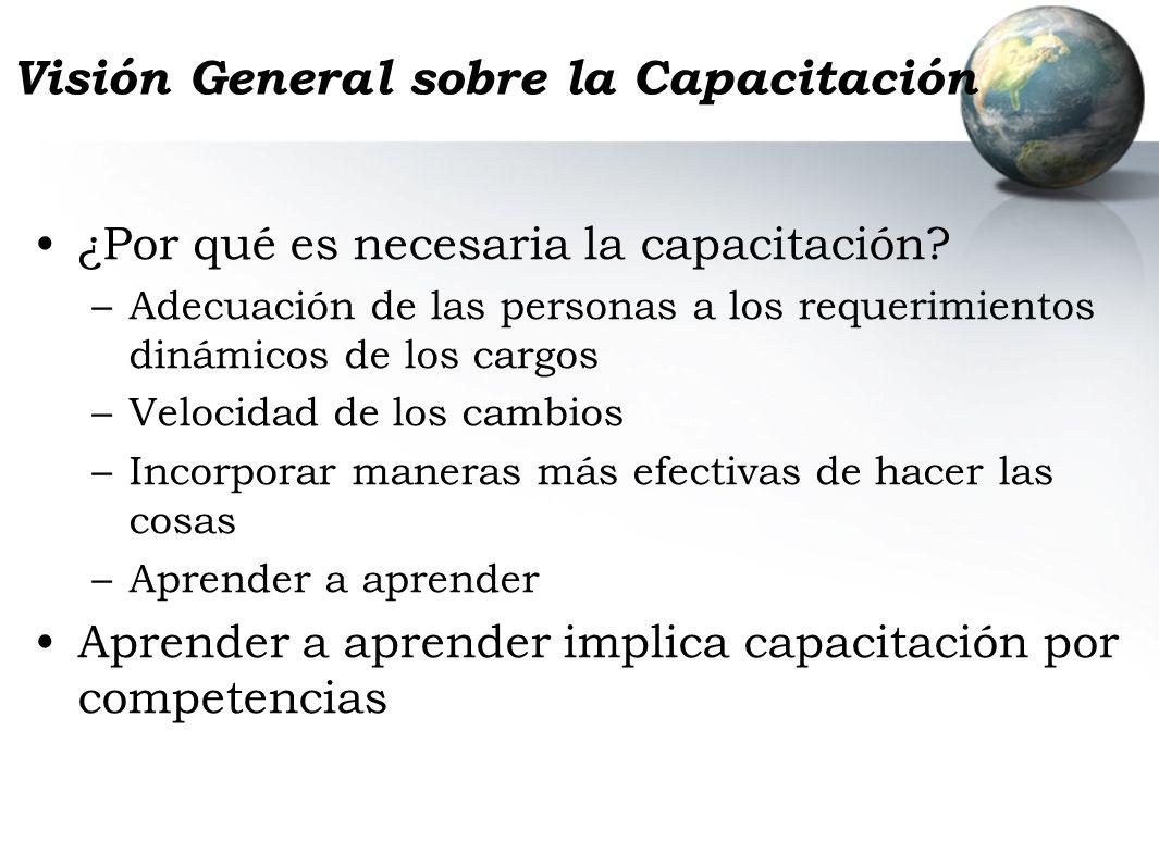 Visión General sobre la Capacitación ¿Por qué es necesaria la capacitación? –Adecuación de las personas a los requerimientos dinámicos de los cargos –