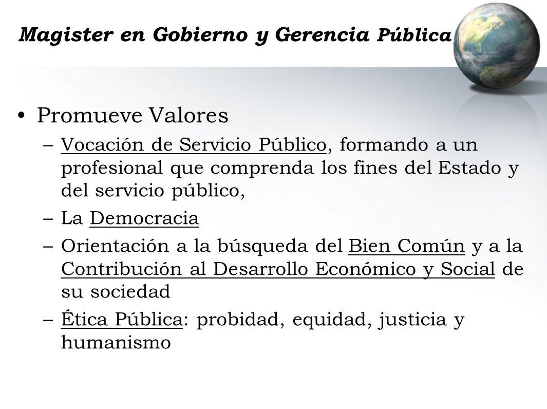 Magister en Gobierno y Gerencia Pública Promueve Valores –Vocación de Servicio Público, formando a un profesional que comprenda los fines del Estado y