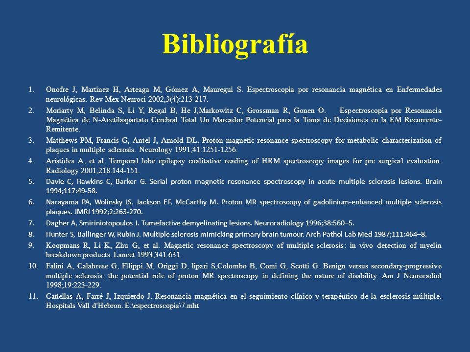 Bibliografía 1.Onofre J, Martinez H, Arteaga M, Gómez A, Mauregui S. Espectroscopia por resonancia magnética en Enfermedades neurológicas. Rev Mex Neu