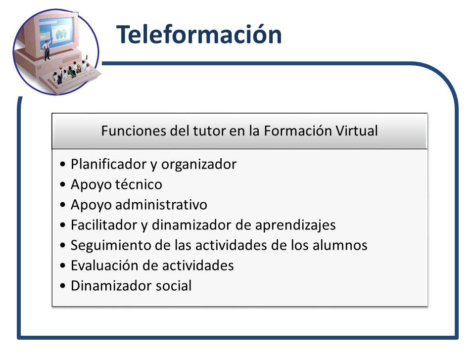 Teleformación Funciones del tutor en la Formación Virtual Planificador y organizador Apoyo técnico Apoyo administrativo Facilitador y dinamizador de a