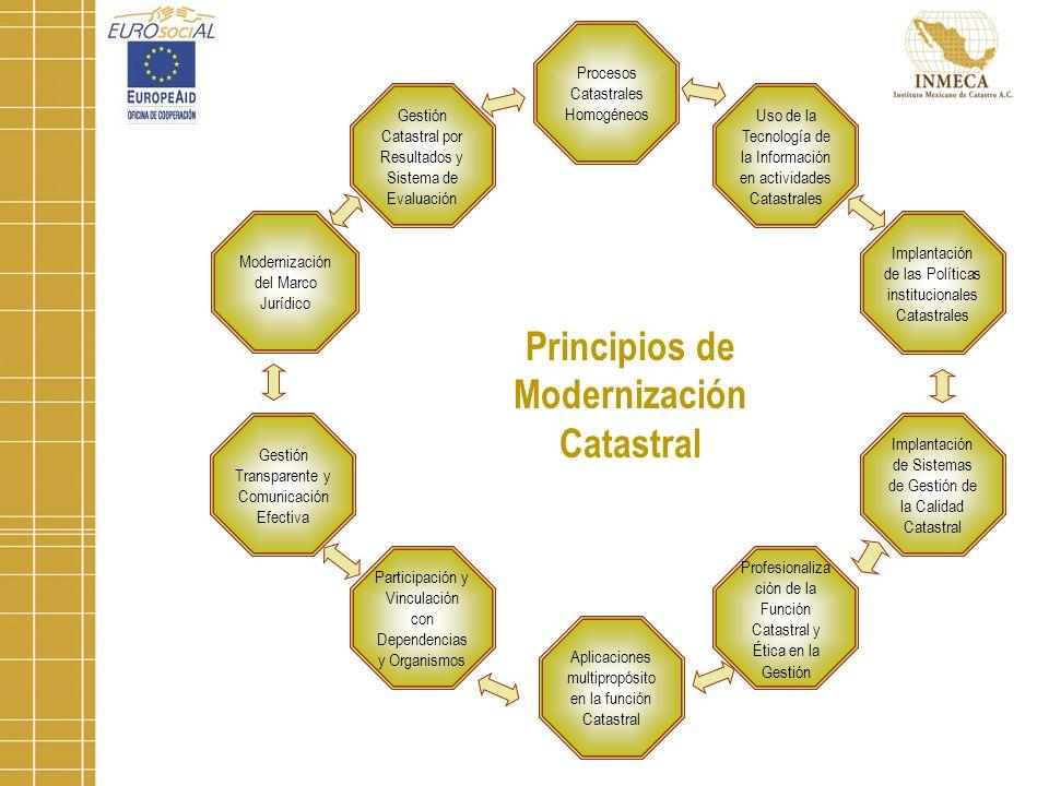 Modernización del Marco Jurídico Gestión Catastral por Resultados y Sistema de Evaluación Procesos Catastrales Homogéneos Uso de la Tecnología de la Información en actividades Catastrales Implantación de las Políticas institucionales Catastrales Implantación de Sistemas de Gestión de la Calidad Catastral Aplicaciones multipropósito en la función Catastral Profesionaliza ción de la Función Catastral y Ética en la Gestión Gestión Transparente y Comunicación Efectiva Participación y Vinculación con Dependencias y Organismos Principios de Modernización Catastral
