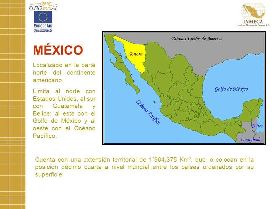 Cuenta con una extensión territorial de 1´964,375 Km 2.