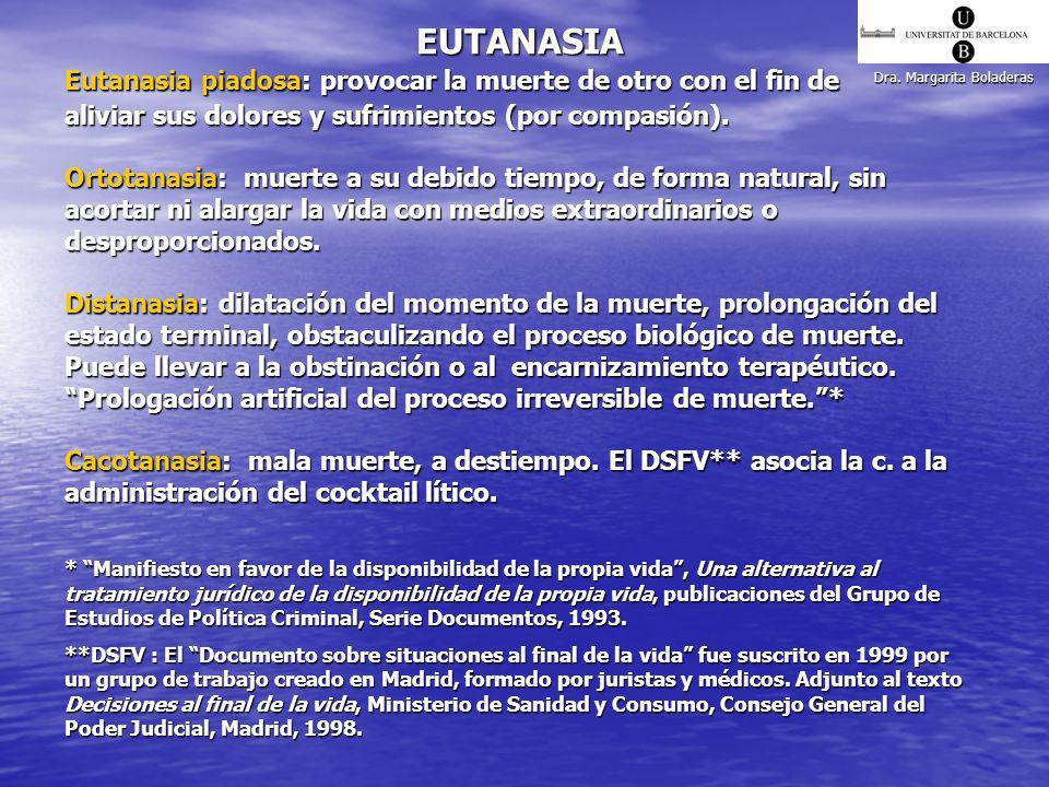 Dra. Margarita Boladeras EUTANASIA Eutanasia piadosa: provocar la muerte de otro con el fin de aliviar sus dolores y sufrimientos (por compasión). Ort