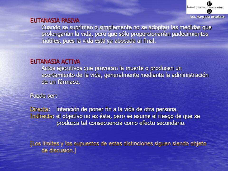 Dra. Margarita Boladeras EUTANASIA PASIVA Cuando se suprimen o simplemente no se adoptan las medidas que prolongarían la vida, pero que sólo proporcio