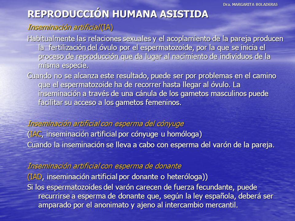Dra. MARGARITA BOLADERAS REPRODUCCIÓN HUMANA ASISTIDA Inseminación artificial (IA) Habitualmente las relaciones sexuales y el acoplamiento de la parej