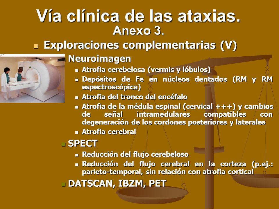 Exploraciones complementarias (V) Exploraciones complementarias (V) Neuroimagen Neuroimagen Atrofia cerebelosa (vermis y lóbulos) Atrofia cerebelosa (