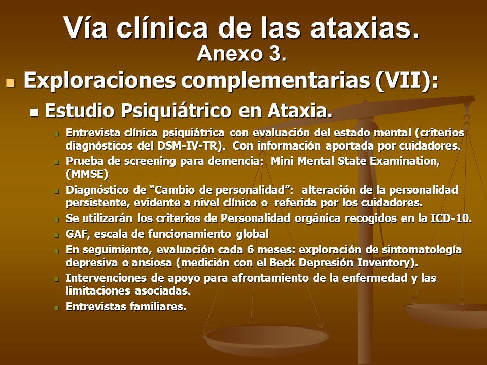 Exploraciones complementarias (VII): Exploraciones complementarias (VII): Estudio Psiquiátrico en Ataxia. Estudio Psiquiátrico en Ataxia. Entrevista c