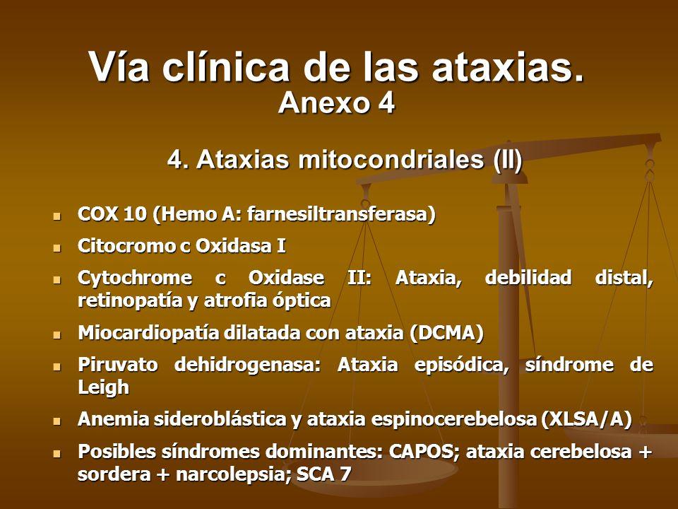 4. Ataxias mitocondriales (II) COX 10 (Hemo A: farnesiltransferasa) COX 10 (Hemo A: farnesiltransferasa) Citocromo c Oxidasa I Citocromo c Oxidasa I C