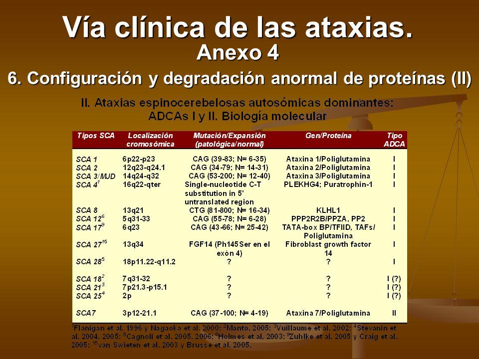6. Configuración y degradación anormal de proteínas (II) Vía clínica de las ataxias. Anexo 4