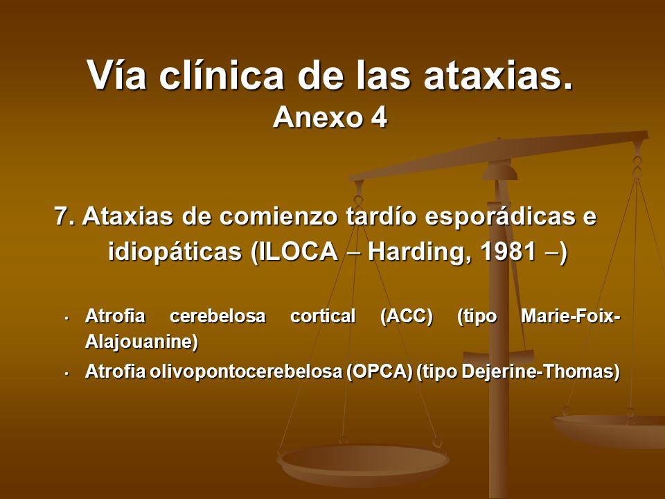 7. Ataxias de comienzo tardío esporádicas e idiopáticas (ILOCA Harding, 1981 ) Atrofia cerebelosa cortical (ACC) (tipo Marie-Foix- Alajouanine) Atrofi