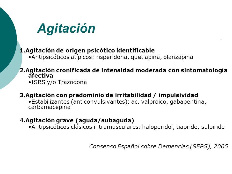 Agitación 1.Agitación de origen psicótico identificable Antipsicóticos atípicos: risperidona, quetiapina, olanzapina 2.Agitación cronificada de intens