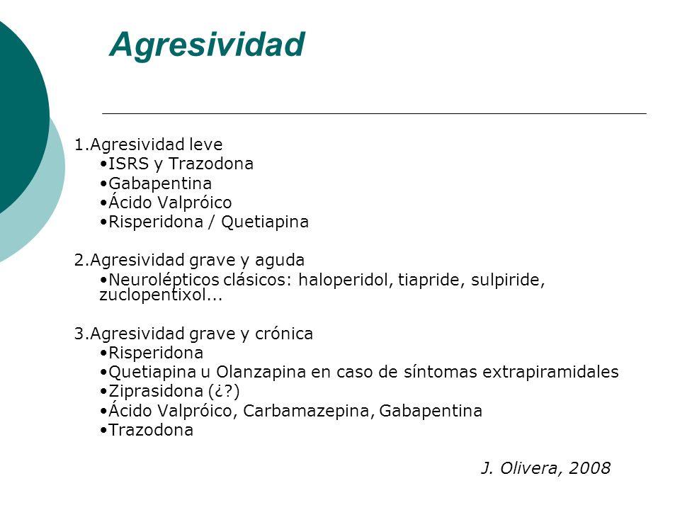 Agresividad 1.Agresividad leve ISRS y Trazodona Gabapentina Ácido Valpróico Risperidona / Quetiapina 2.Agresividad grave y aguda Neurolépticos clásico
