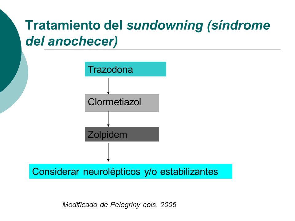 Tratamiento del sundowning (síndrome del anochecer) Modificado de Pelegriny cols. 2005 Trazodona Clormetiazol Zolpidem Considerar neurolépticos y/o es