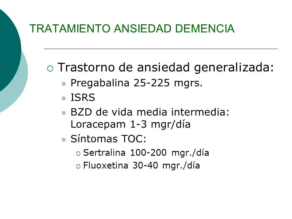 TRATAMIENTO ANSIEDAD DEMENCIA Trastorno de ansiedad generalizada: Pregabalina 25-225 mgrs. ISRS BZD de vida media intermedia: Loracepam 1-3 mgr/día Sí