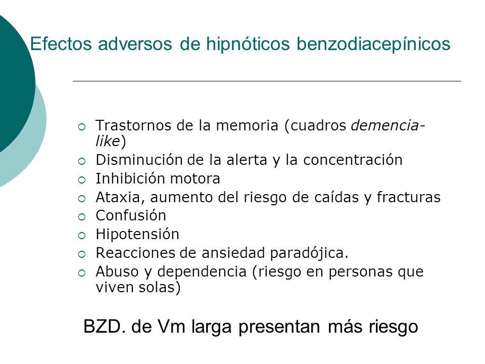 Efectos adversos de hipnóticos benzodiacepínicos Trastornos de la memoria (cuadros demencia- like) Disminución de la alerta y la concentración Inhibic