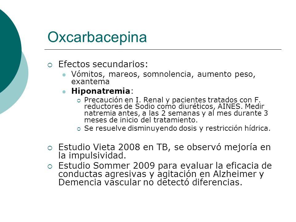 Oxcarbacepina Efectos secundarios: Vómitos, mareos, somnolencia, aumento peso, exantema Hiponatremia: Precaución en I. Renal y pacientes tratados con