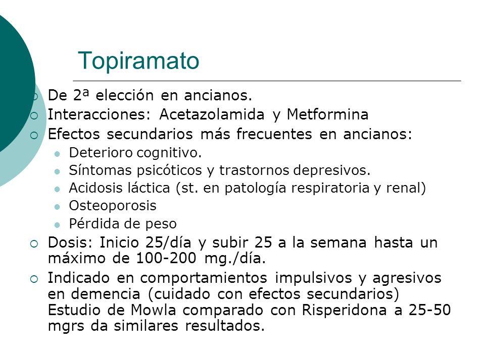 Topiramato De 2ª elección en ancianos. Interacciones: Acetazolamida y Metformina Efectos secundarios más frecuentes en ancianos: Deterioro cognitivo.