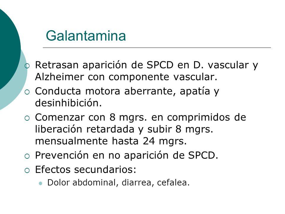 Galantamina Retrasan aparición de SPCD en D. vascular y Alzheimer con componente vascular. Conducta motora aberrante, apatía y desinhibición. Comenzar