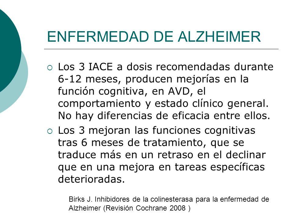 ENFERMEDAD DE ALZHEIMER Los 3 IACE a dosis recomendadas durante 6-12 meses, producen mejorías en la función cognitiva, en AVD, el comportamiento y est