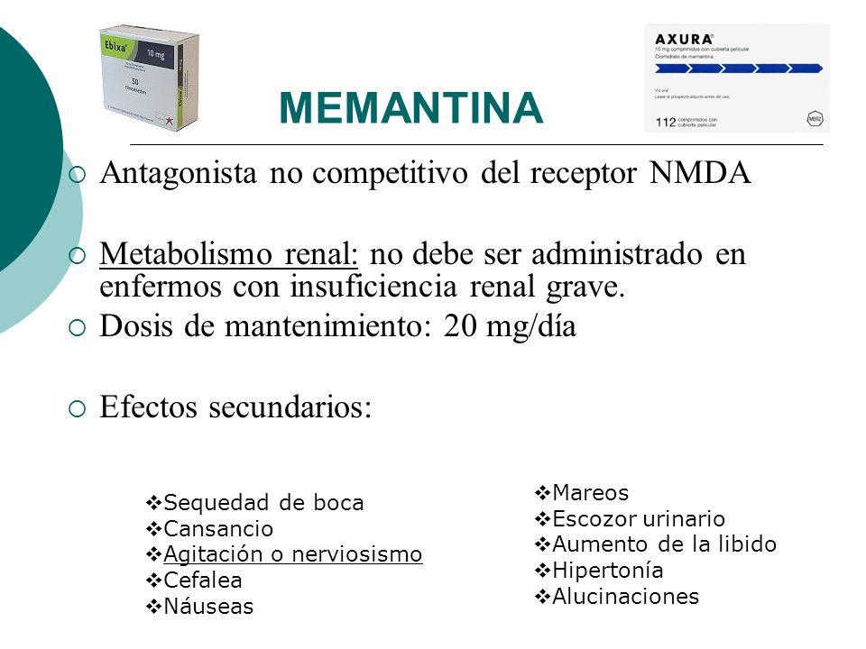 MEMANTINA Antagonista no competitivo del receptor NMDA Metabolismo renal: no debe ser administrado en enfermos con insuficiencia renal grave. Dosis de