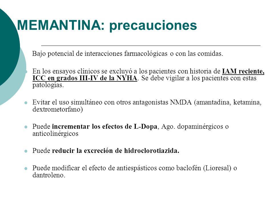 MEMANTINA: precauciones Bajo potencial de interacciones farmacológicas o con las comidas. En los ensayos clínicos se excluyó a los pacientes con histo
