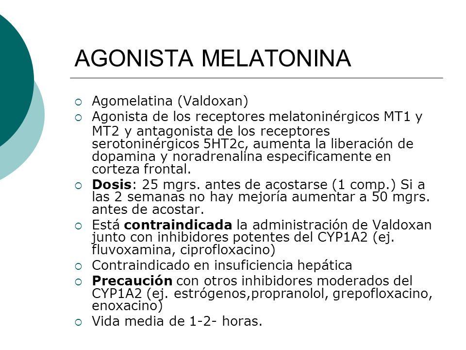 AGONISTA MELATONINA Agomelatina (Valdoxan) Agonista de los receptores melatoninérgicos MT1 y MT2 y antagonista de los receptores serotoninérgicos 5HT2
