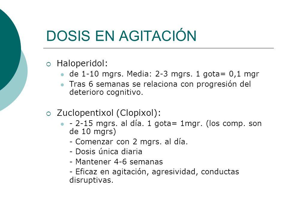 DOSIS EN AGITACIÓN Haloperidol: de 1-10 mgrs. Media: 2-3 mgrs. 1 gota= 0,1 mgr Tras 6 semanas se relaciona con progresión del deterioro cognitivo. Zuc