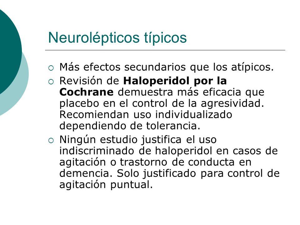 Neurolépticos típicos Más efectos secundarios que los atípicos. Revisión de Haloperidol por la Cochrane demuestra más eficacia que placebo en el contr