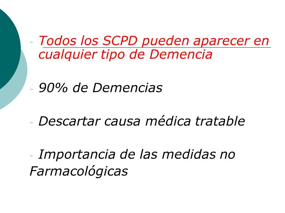 - Todos los SCPD pueden aparecer en cualquier tipo de Demencia - 90% de Demencias - Descartar causa médica tratable - Importancia de las medidas no Fa