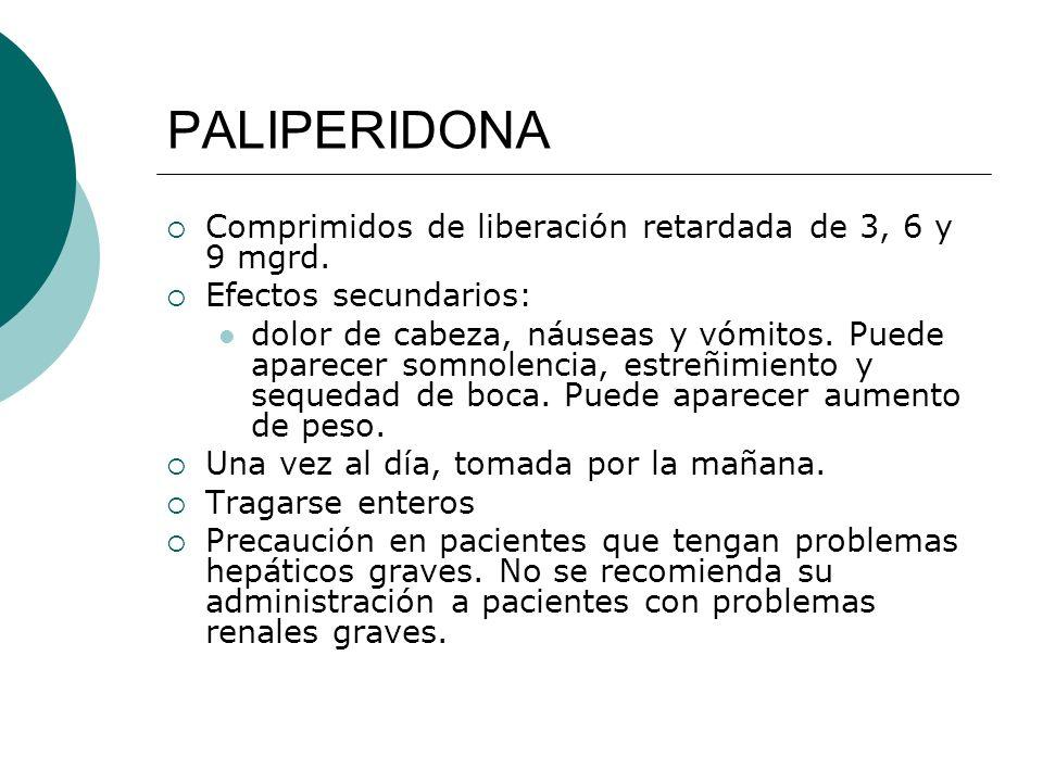 PALIPERIDONA Comprimidos de liberación retardada de 3, 6 y 9 mgrd. Efectos secundarios: dolor de cabeza, náuseas y vómitos. Puede aparecer somnolencia