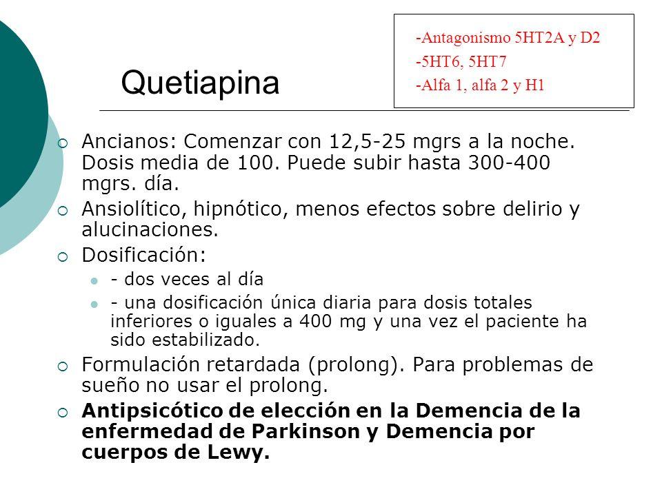 Quetiapina Ancianos: Comenzar con 12,5-25 mgrs a la noche. Dosis media de 100. Puede subir hasta 300-400 mgrs. día. Ansiolítico, hipnótico, menos efec