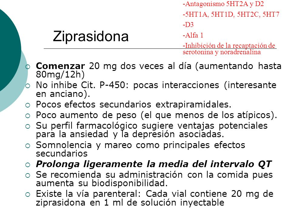 Ziprasidona Comenzar 20 mg dos veces al día (aumentando hasta 80mg/12h) No inhibe Cit. P-450: pocas interacciones (interesante en anciano). Pocos efec